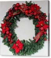 Poinsettia Wreath Canvas Print