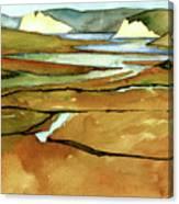 Point Reyes, Ca, Drakes Beach Estuary, Midday Tide, Watercolor Plein Air Canvas Print