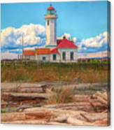 Point Wilson Lighthouse And Driftwood Canvas Print