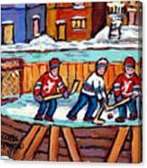 Outdoor Hockey Rink Painting  Devils Vs Rangers Sticks And Jerseys Row House In Winter C Spandau Canvas Print