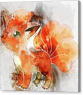 Pokemon Vulpix Abstract Portrait - By Diana Van Canvas Print