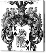 Poker King Spades Black And White Canvas Print