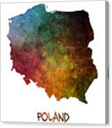 Poland Map Polska Map Canvas Print