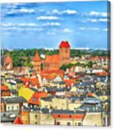 Poland, Torun, Urban Landscape. Canvas Print