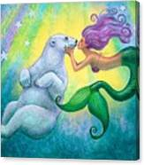 Polar Bear Kiss Canvas Print