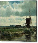 Polder Landscape With Windmill Near Aboude Canvas Print