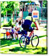 Police Officer Rides A Bicycle Canvas Print
