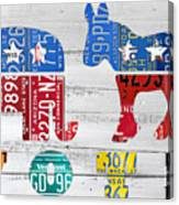 Political Party Election Vote Republican Vs Democrat Recycled Vintage Patriotic License Plate Art Canvas Print