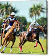 Polo Players And Ponies Canvas Print