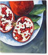 Pomegranates On A Plate  Canvas Print