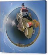 Pomham Rocks Lighthouse Little Planet Canvas Print