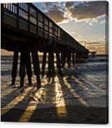 Pompano Beach Fishing Pier At Sunrise Florida Sunrays Canvas Print