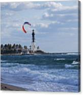 Pompano Beach Kiteboarder Hillsboro Lighthouse Canvas Print