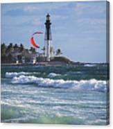 Pompano Beach Kiteboarder Hillsboro Lighthouse Waves Canvas Print