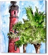 Ponce De Leon Inlet Florida Lighthouse Art Canvas Print