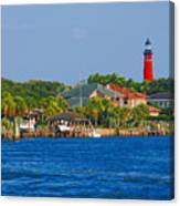 Ponce Inlet Waterfront And Lighthouse Canvas Print
