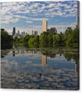 Pond And The Chicago Skyline Canvas Print