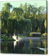 Pond At Mae Stecker Park In Shelby Township Mi  Canvas Print