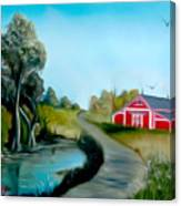 Pond By The Red Barn Dreamy Mirage Canvas Print