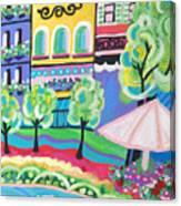 Pond Garden Boutiques On The Avenue Canvas Print