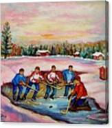Pond Hockey Warm Day Canvas Print