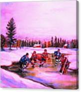 Pond Hockey Warm Skies Canvas Print
