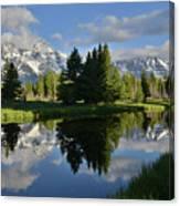 Pond Reflection At Schwabacher Landing Canvas Print