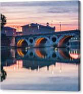 Pont Neuf In Toulouse At Sunset Canvas Print