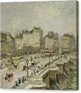 Pont Neuf Snow Effect Canvas Print