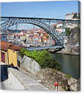 Ponte Luiz I Between Porto And Gaia In Portugal Canvas Print