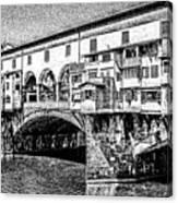 Ponte Vecchio Florence Sketch Canvas Print