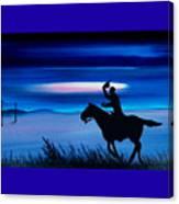 Pony Express Rider Blue Canvas Print