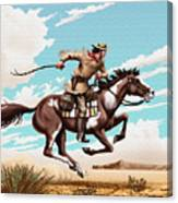 Pony Express Rider Historical Americana Painting Desert Scene Canvas Print