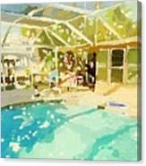 Pool And Screened Pool House Canvas Print