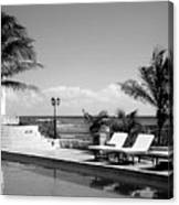 Poolside B-w Canvas Print