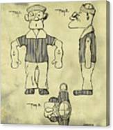 Popeye Doll Patent 1932 In Weathered Canvas Print