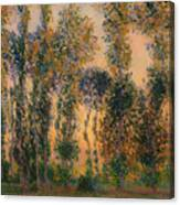 Poplars At Giverny - Sunrise Canvas Print