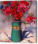 Poppies And Cornflowers In Green Jug Canvas Print