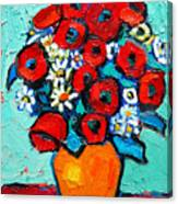 Poppies And Daisies Bouquet Canvas Print
