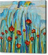 Poppies And Mountains Canvas Print