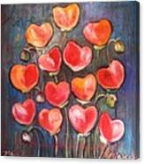 Poppies Are Hearts Of Love We Can Give Away Canvas Print