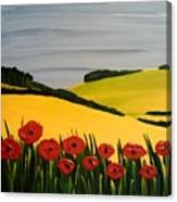 Poppies In The Hills Canvas Print