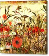 Poppies In Waving Corn Canvas Print