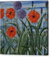 Poppies, Iris, Giant Alium Canvas Print