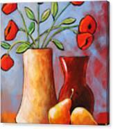 Poppies N Pears Canvas Print