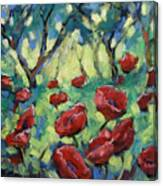 Poppies Through The Forest Canvas Print