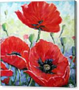 Poppy Love Floral Scene Canvas Print