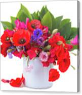 Poppy With Sweet Pea And Corn Flowers On White Canvas Print