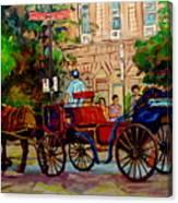 Popular Quebec Artists Carole Spandau Painter Of Scenes De Rue Montreal Street Scenes Canvas Print