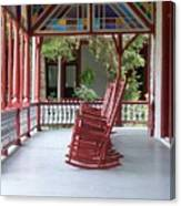Porch With Rocking Chairs Canvas Print